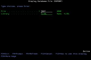 Ekran komendy DSPDBF