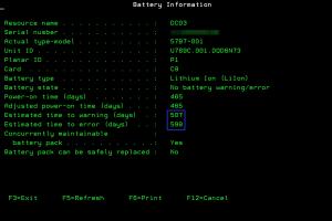 Dane baterii w narzędziu SST
